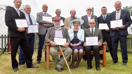 Suffolk Show President Baroness Byford with the recipients of the Long Service AwardsPicture: