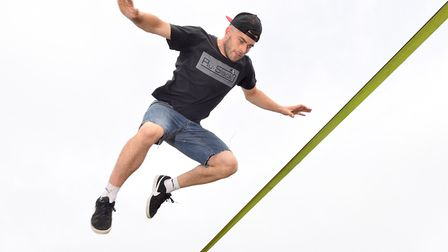 Ben Hughes giving a demonstration on slacklining at the Suffolk Show Sports VillagePicture: NIC
