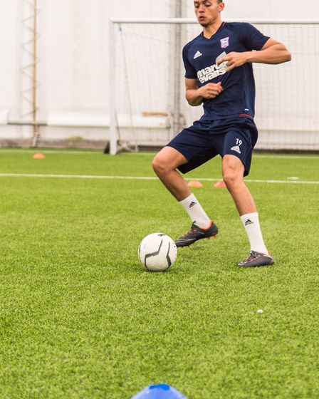 Andre Dozzell works on some drills at Ipswich Town. Picture: PAVEL KRICKA