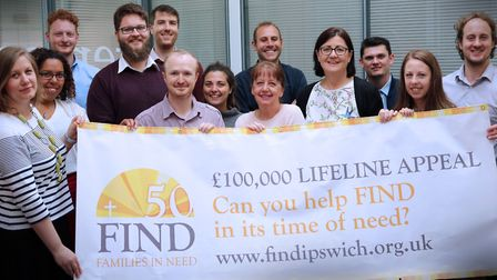 Maureen Reynel MBE (centre) with the Genesis PR team who have created a new website for FIND