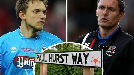 James McKeown has been discussing his former Grimsby manager, Paul Hurst. The roadsign (inset) was p
