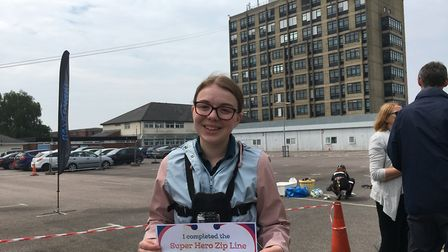 Reporter Katy Sandalls after having completed the zip wire Picture: KATY SANDALLS