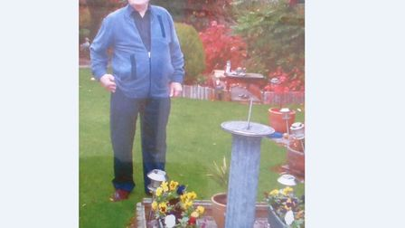 Roy Talbot next to the sundial containing his wife Peggy's ashes Picture: CONTRIBUTED BY MARY AND DE
