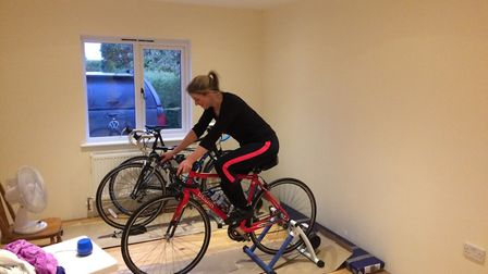 Lauren Braithwaite trains for the 100 mile cycle ride for the Sick Children's Trust Picture: SUPPLIE