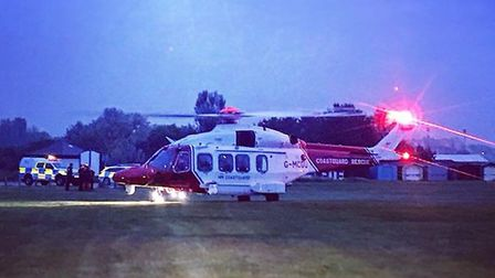 The Coastguard rescue helicopter airlifted the missing person to safety. Picture: WALTON COASTGUARD