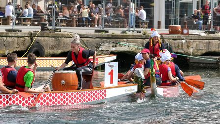 The Woodward Markwell team lose their dragon figure-head, in a collision with Gilmour Piper boat P