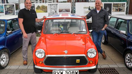 Ian Harries (left) and Iain Taylor, owners of the only August registered 1980 Mini 1000 left on the