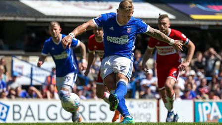 Martyn Waghorn scores from the spot against Middlesbrough Picture: STEVE WALLER WWW.STEPHENWAL