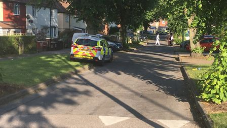 Police at the scene of the incident in Packard Avenue, Ipswich Picture: ARCHANT