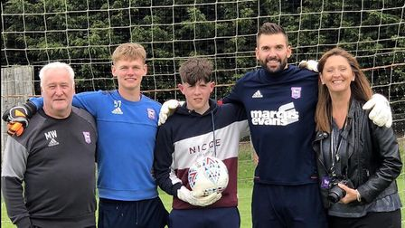 Pictured left to right, is Malcolm Webster, the former Ipswich Town goalkeeper coach; Mitchell Ware,