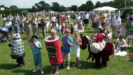 Fancy dress competitiors line up for the judges at the Grundisburgh village show 13 years ago Pictur