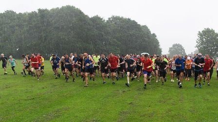 The start of the 257th Mulbarton parkrun, held in heavy rain last Saturday. Picture: IAN EDWARDS PHO