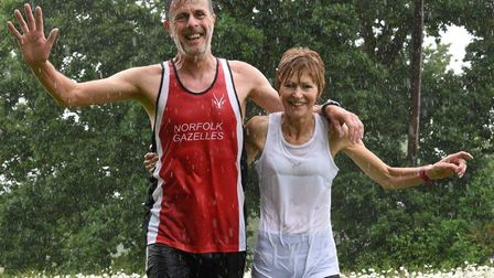 Gail Hardingham, right, celebrating her 250th parkrun, is in good spirits with her husband Kevin. Pi