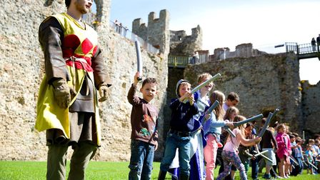 Budding knights can get some combat lessons at the fair's sword school Picture: PHIL RIPLEY