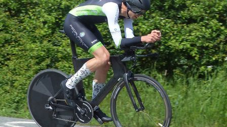 Ross Fawcett on his way to victory at the Orwell Velo 10. Picture: FERGUS MUIR
