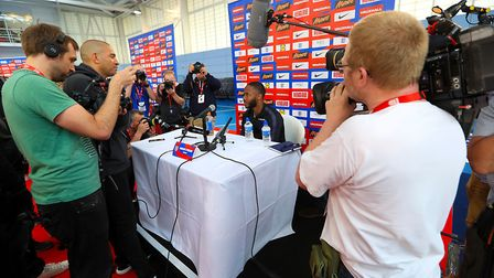 England's Raheem Sterling speaks during the media day at St George's Park Photo: PA