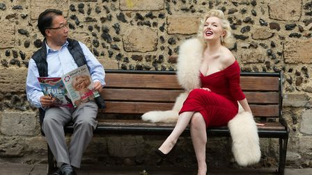 Deputy mayor Patrick Chung with Marilyn Monroe lookalike Suzie Kennedy Picture: KEITH MINDHAM