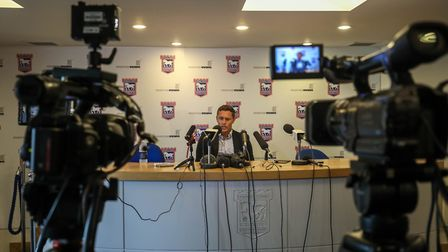 Paul Hurst faces the media at Portman Road yesterday. Picture: Steve Waller