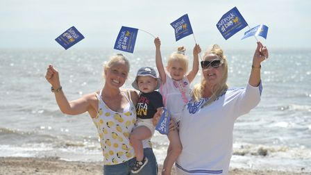 Louise, Heston and Paloma Crouch and Miriam Beard having fun in Felixstowe Picture: SARAH LUCY BR