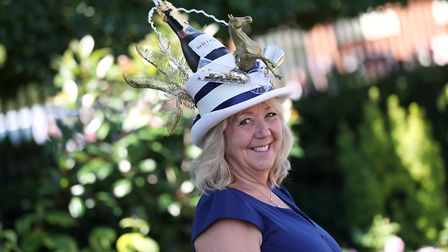 Racegoer Lindsay Anderson from Clare in Suffolk arriving for day three of Royal Ascot at Ascot Racec