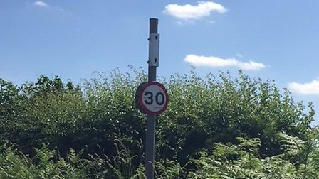 The Hollesley Speed Indication Display (SID) has been left removed after being broken into and empti