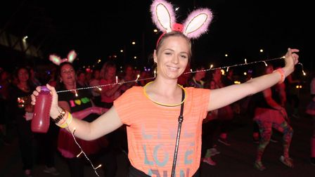 The Midnight Walk is St Helena Hospice's biggest event. Pictured is Sally Thomas at the start of the