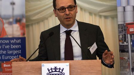 Simone Rossi, EDF Energy chief executive, addresses guests at an earlier Hinkley Point C supply chai