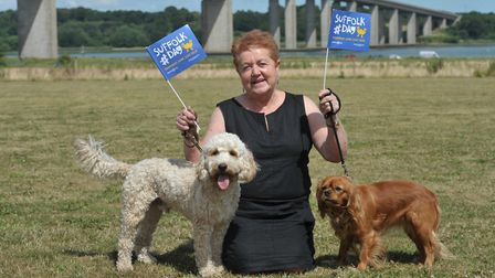 Joan Swan with her dogs Dudley and Clementine at the Suffolk Food Hall on Suffolk Day Picture: SARA