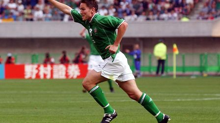 Matt Holland celebrates his equaliser against Cameroon in 2002. Photo: PA
