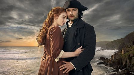 Eleanor Tomlinson as Demelza and Aidan Turner as Ross Poldark in the BBC series Poldark which makes