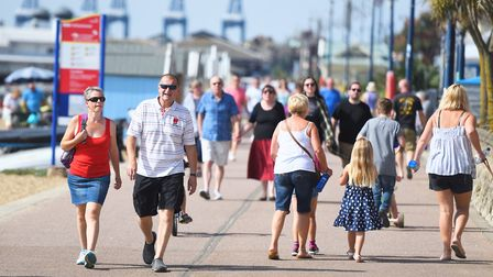 Family and friends enjoying a day out at Felixstowe beach Picture: GREGG BROWN