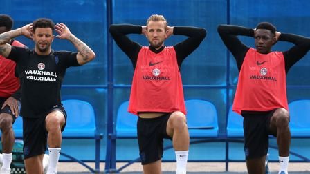 England's (left-right) Kyle Walker, Harry Kane and Danny Welbeck during a training session ahead of