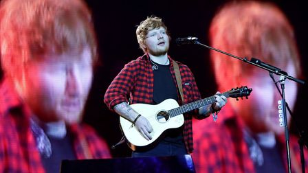 Ed Sheeran performing on the Pyramid stage at Glastonbury Festival, at Worthy Farm in Somerset. PRES