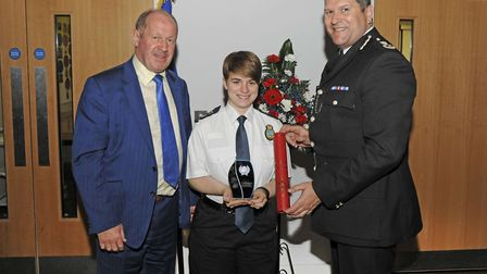 Police and Crime Commissioner Tim Passmore (left) and Chief Constable Gareth Wilson present the Prou