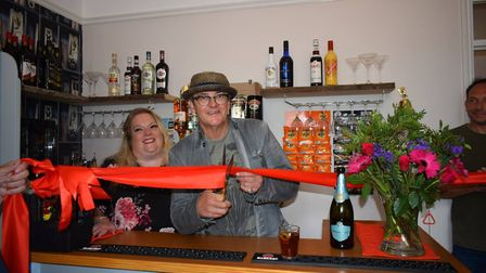 Joe Pasquale cutting the ribbon to open the new nightclub Picture: GREENSLEEVES CARE