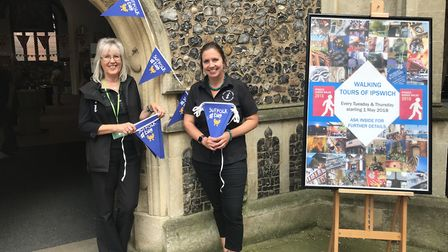 Anna and Linda from the Ipswich Tourist Infomation get ready for Suffolk Day Picture: ROSS HALLS