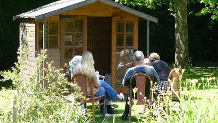 Residents enjoying the garden at Foxearth Lodge Nursing Home. Picture: Hayley Cantrell