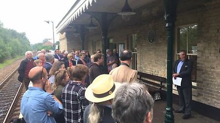 John Curley of the National Railway Heritage Awards committee addressing 57+ guests at the unveiling