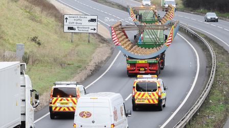 An abnormal load, pictured during a previous journey on the A12 Picture: LUCY TAYLOR