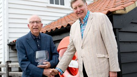 The award being presented to Robert Spillett by John Carrington, Chairman of the Tide Mill Trustees