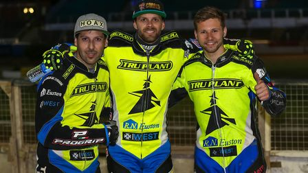 Star Ipswich men (from the left) Nico Covatti, maximum man Rory Schlein and Danyon Hume celebrate af