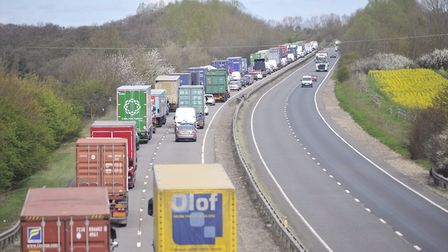 A crash between a lorry and a tractor is causing slow moving traffic on the A14 (stock image) Pictur