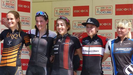 Sophie Wright (centre) on the podium with Felixstowe's Elvita Branch, far right, at Kentford. Pictur