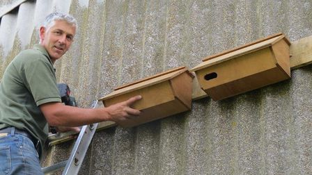 More swift nestboxes, this time being installed by Mr Steve Damant