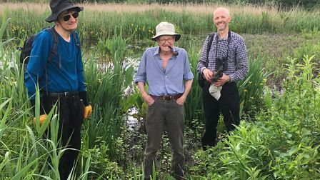 Stephen Grainger, Michael Hardy, Simon Lee - part of the working party at Cornard Mere