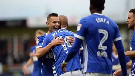 David McGoldrick is congratulated by Bersant Celina during Town's Carabao Cup first round win at Lut