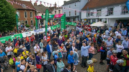 Supporters crowd round the stage ahead of the OVO energy Womans Tour start, on the Market Hill, Fram