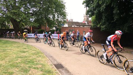The women's cycle race passing through Christchurch Park. Picture: SAM DAWES