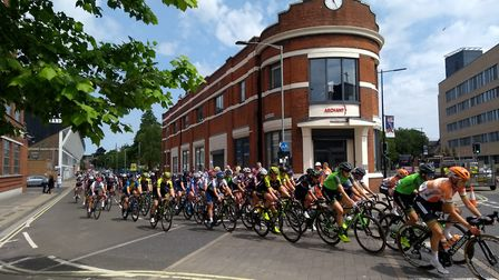 Women's Tour passing the Archant offices of the EADT & Ipswich Star on the corner of Portman Road an