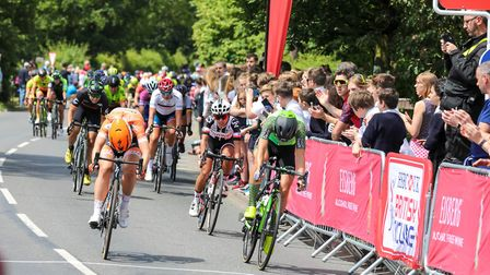 A close finish in the second sprint stage of the first day in the OVO energy Womans Tour, on 13 June